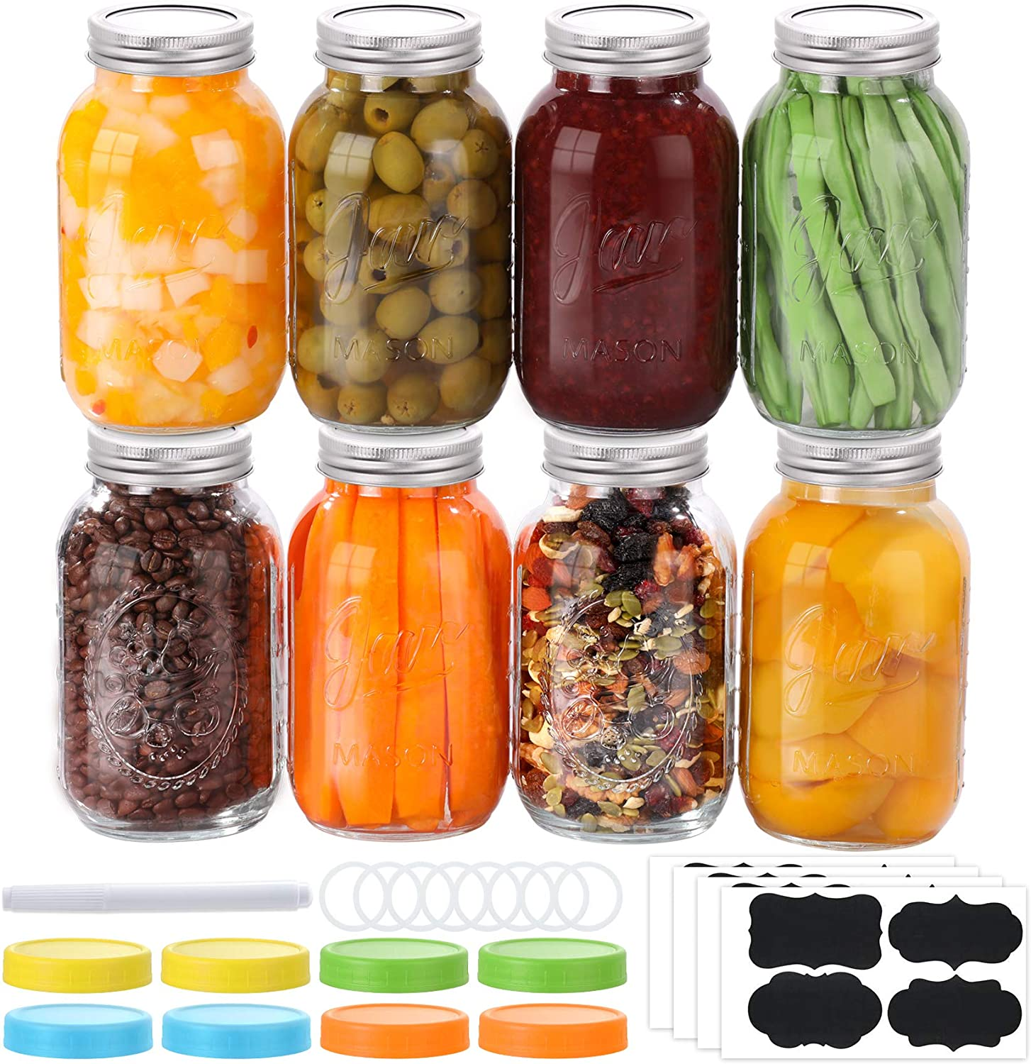 8 PACK Mason Jars 32 Oz, Large Regular Mouth Canning Jars with Metal Airtight Lids and Bands, Extra Leak-Proof Colored Lids, Chalkboard Labels, Marker, for Meal Prep, Food Storage, Canning, Preserving