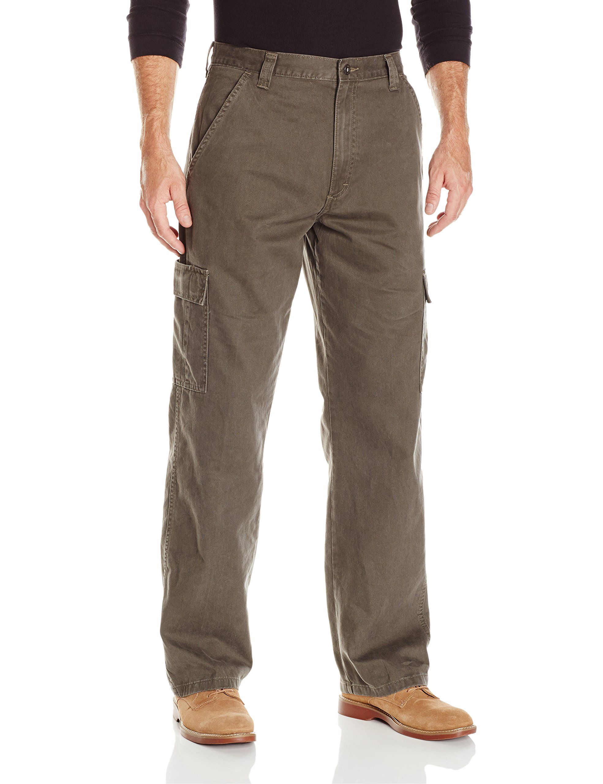 Wrangler Authentics Men's Classic Twill Relaxed Fit Cargo Pant, Olive Drab, 32 x 34
