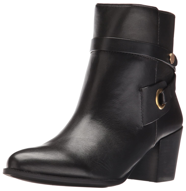 Anne Klein Women's Globalist Leather Ankle Bootie B01FL5BZ02 9.5 B(M) US|Black