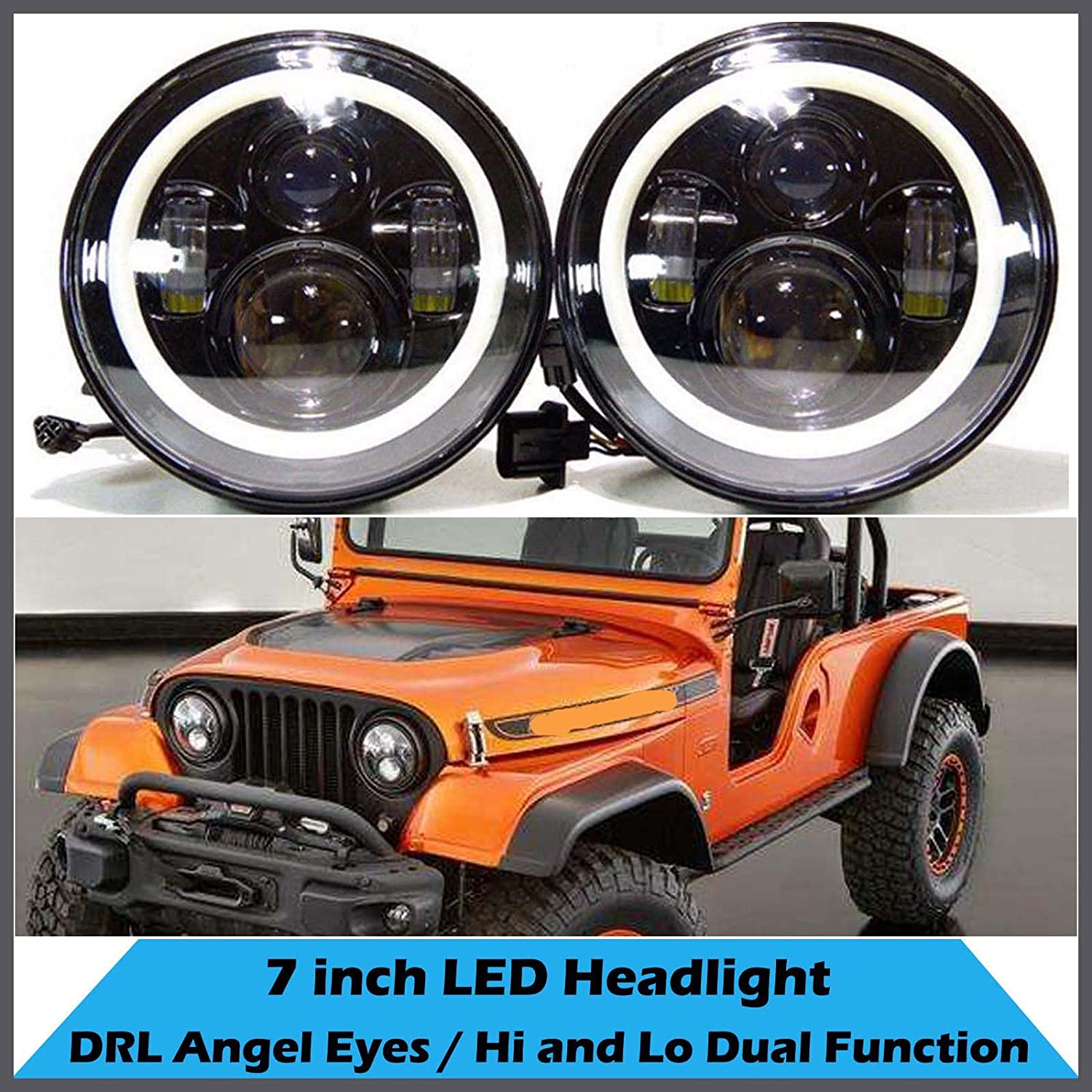 For Jeep Cj5 Cj6 Cj7 7inch Led Headlight Round Light H4 Exciting Scout Crafts 1 Or 2 Headlamp H13 Drl 120w Total Hi Lo Beam Pack Of Automotive