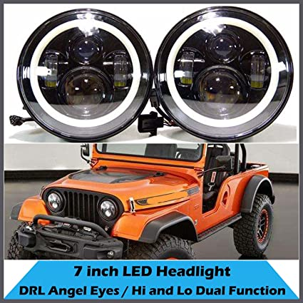 amazon com: for jeep cj5 cj6 cj7 7inch led halo headlight round light h4  h13 drl 120w total hi/lo beam amber turn signal, pack of 2: automotive