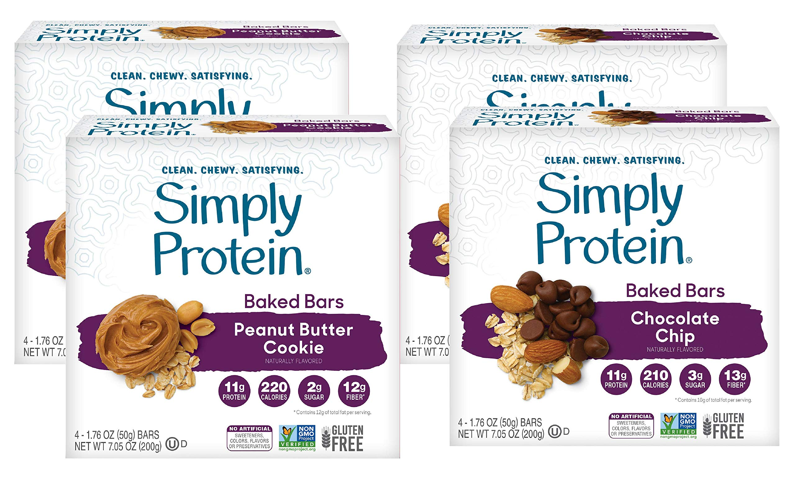 SimplyProtein Baked Bar Singles. Clean, Dairy Free and Gluten Free Baked Bars with Plant Based Protein. (16 Pack, Chocolate Chip & Peanut Butter Cookie)