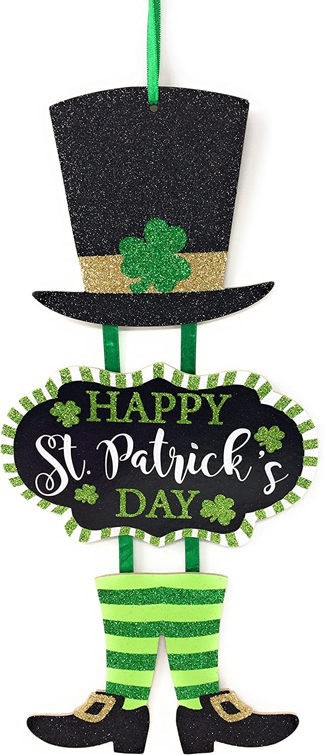 "Glittery ""Happy St. Patrick's Day"" Themed Hanging Welcome Sign with Leprechaun Top Hat and Feet"