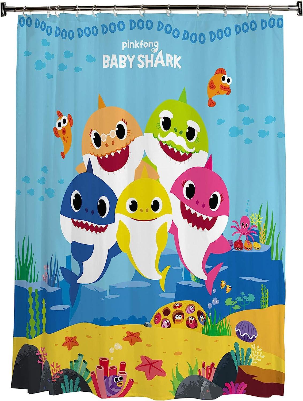 "Franco Kids Bathroom Decorative Fabric Shower Curtain, 72"" x 72"", Baby Shark"