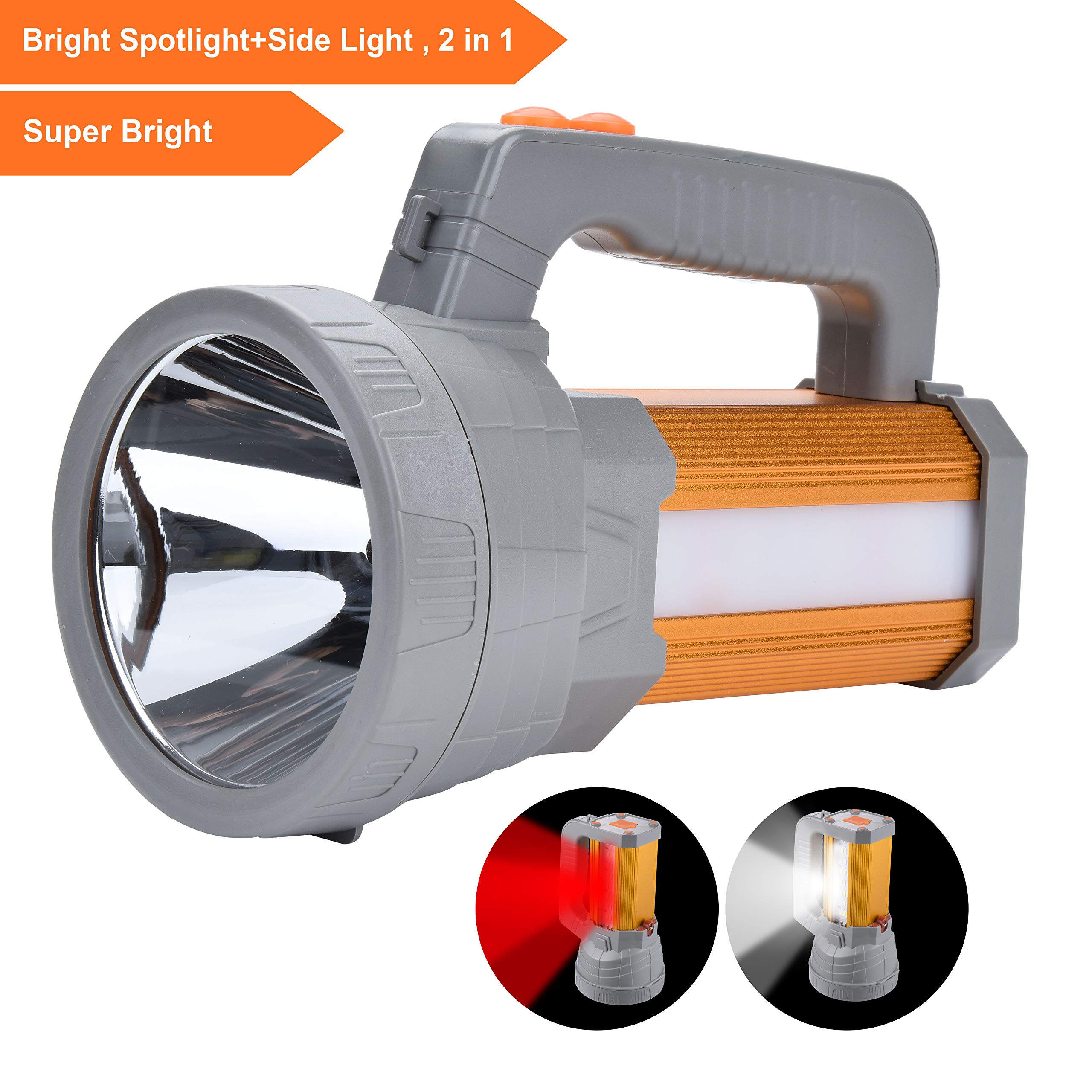 High Powered Super Bright LED Spotlight Flashlight Rechargeable High 6000 Lumens Handheld CREE Searchlight Large Battery 10000mAh Long Time, Bright Side Camping Lantern Work Light SOS Warning Mode