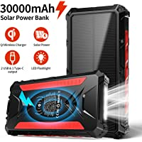 Banco de energía Solar 30000mAh, Cargador Solar portátil Cargador inalámbrico Qi, Salidas 5V 3A de Alta Velocidad y…