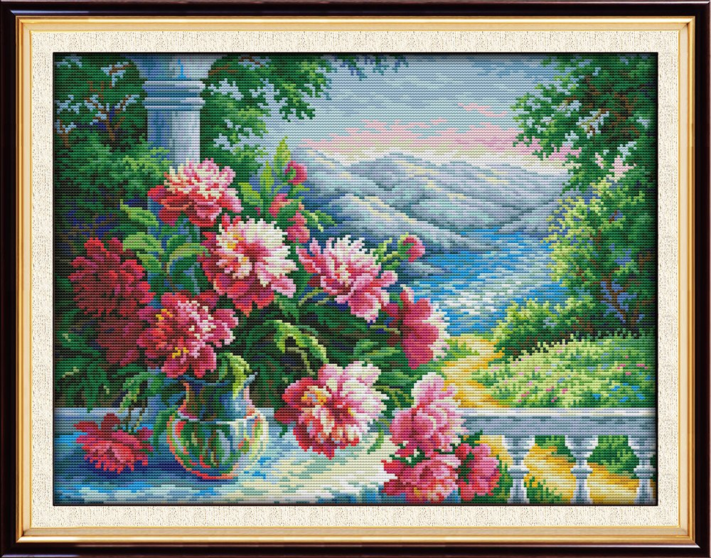 Joy Sunday Cross Stitch Kits,Scenery Style,Vase with Distant Mountains,11CT Stamped, 61cm×47cm or 23.79'×18.33'
