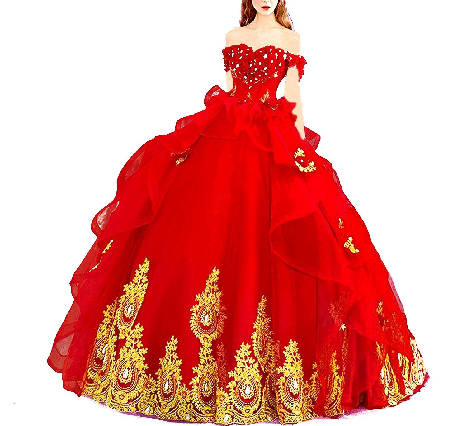 9fd0eae90518 Modeldress Off Shoulder Applique Tulle Ball Gown Beaded Princess Quinceanera  Evening Prom Dress Red US8