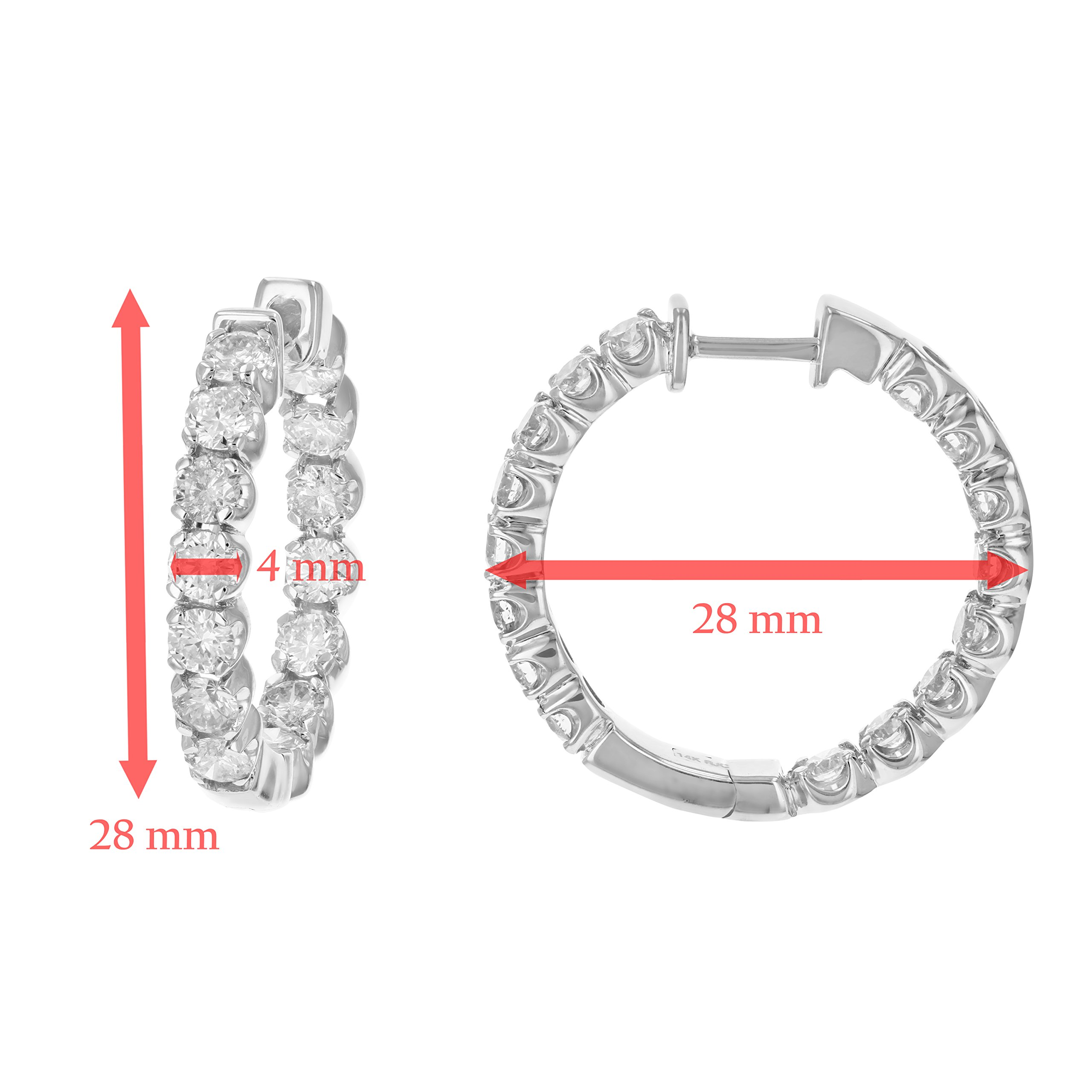 4 cttw SI2-I1 Certified 14K White Gold Diamond Inside Out Hoop Earrings (J-K) by Vir Jewels (Image #3)