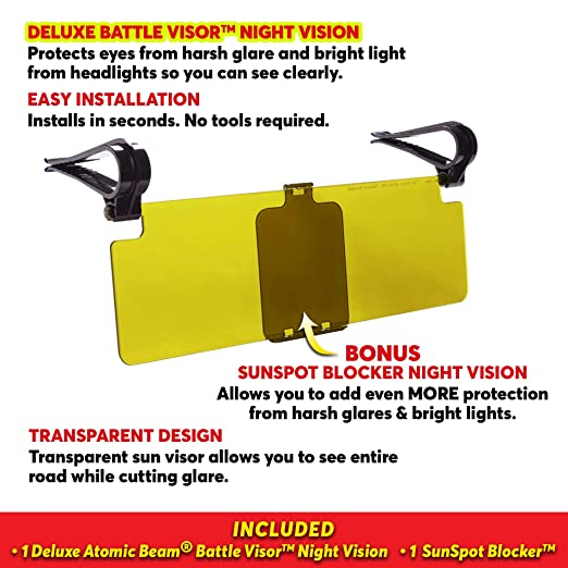 Amazon.com  Atomic Beam Official As Seen On TV Deluxe Battle Visor Night  Vision Visor by BulbHead 9a0ee858bdd
