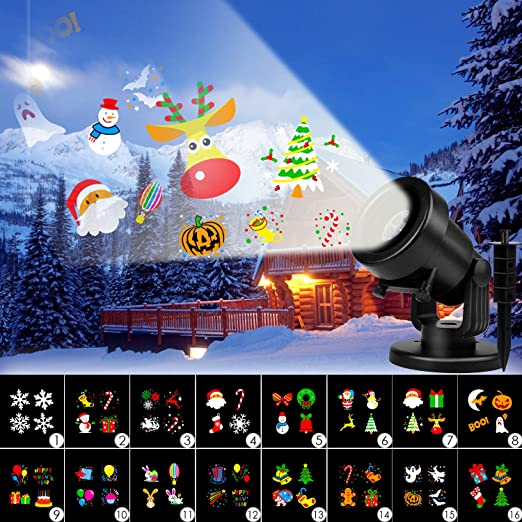 Albrillo Luces de Proyección LED para Navidad - Lámpara de Proyector con 16 Diapositivas Cambiables, IP44 Impermeable, como Decoración Interior y ...