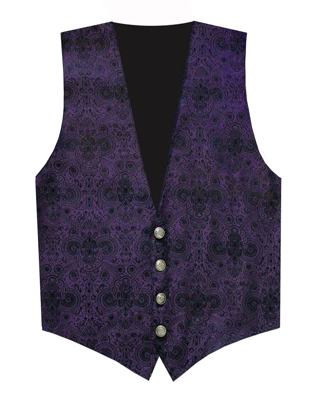 Victorian Vagabond Steampunk Gothic Brocade Mens Vest Purple Black