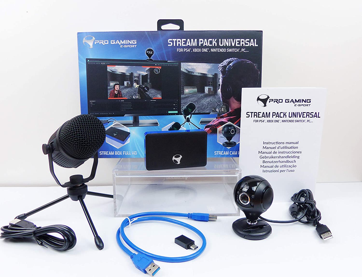 Stream Pack accesorios de captura de vídeo Full HD, micrófono y cámara HD para PS4/PS4 Slim/PS4 Pro/Xbox One/PC/Nintendo Switch: Amazon.es: Videojuegos