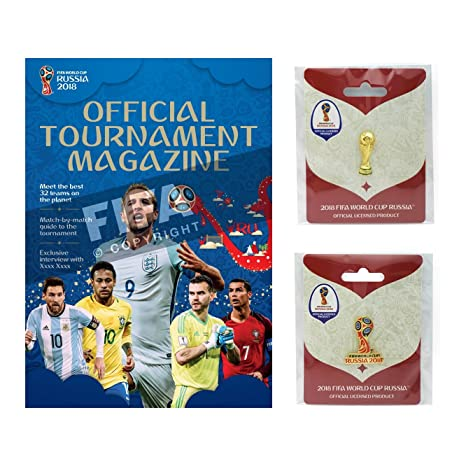 a7c77e003 Amazon.com: FIFA 2018 World Cup - Official Program, Trophy Pin & Russia  Logo Pin Combo Pack: Sports & Outdoors