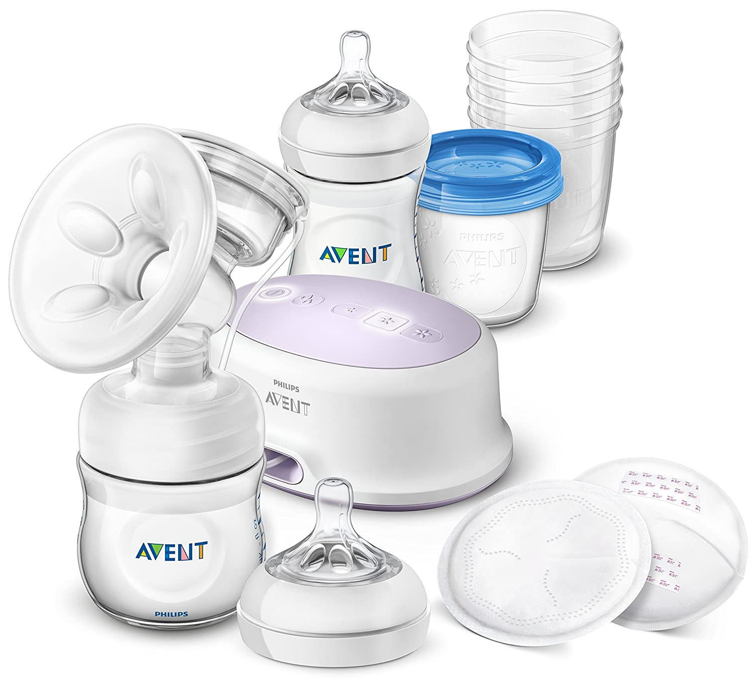 AVENT Breastfeeding starter kit with electric breast pump, SCD223/00 EU-plug , includes natural bottles, storage cups and nursing pads