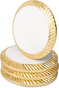 Bezrat Marble Coasters for Drinks - Round - Modern Gold Edge Stone Coaster - Protect Table/Furniture from Water Marks Scratch and Damage - 4 Inch