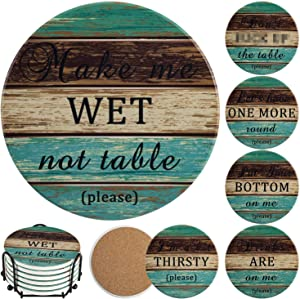Stone Coasters for Drinks Absorbent, Esur Funny Ceramic Coaster Set of 6 with Metal Holder Rustic Cork Base for Table Protection, Farmhouse Style for Bar Home Decor, Housewarming Gift