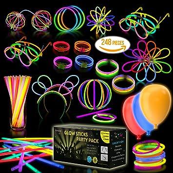 Amazon.com: Multicolor Glow Sticks Bulk Party Pack - 248 pcs ...