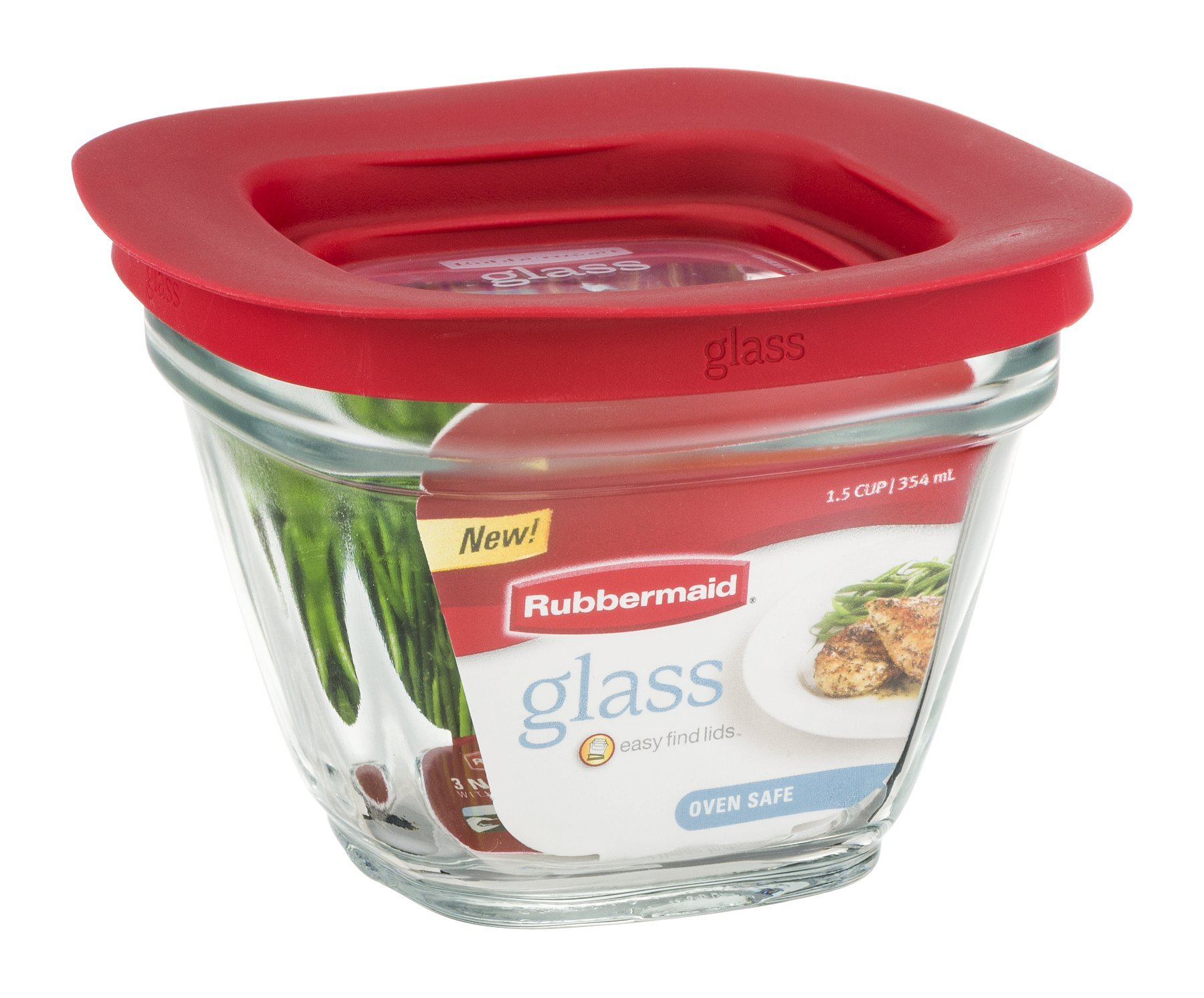 Rubbermaid Food Storage Container Freezer, Glass 1.5 Cup Square by Rubbermaid