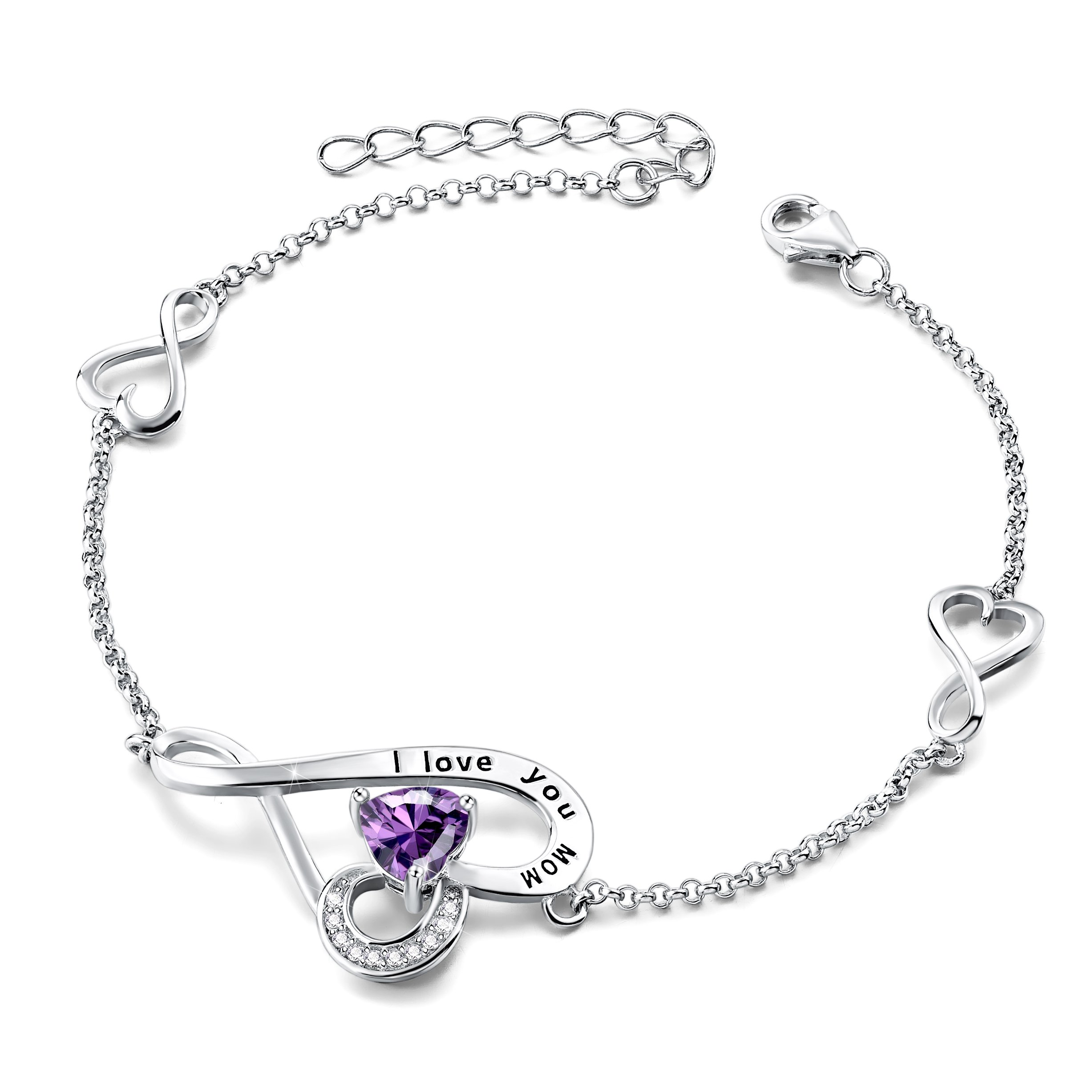 Mother's Birthday Gifts I Love You Mom Sterling Silver Love Heart Infinity Adjustable Charm Bracelet (Purple)