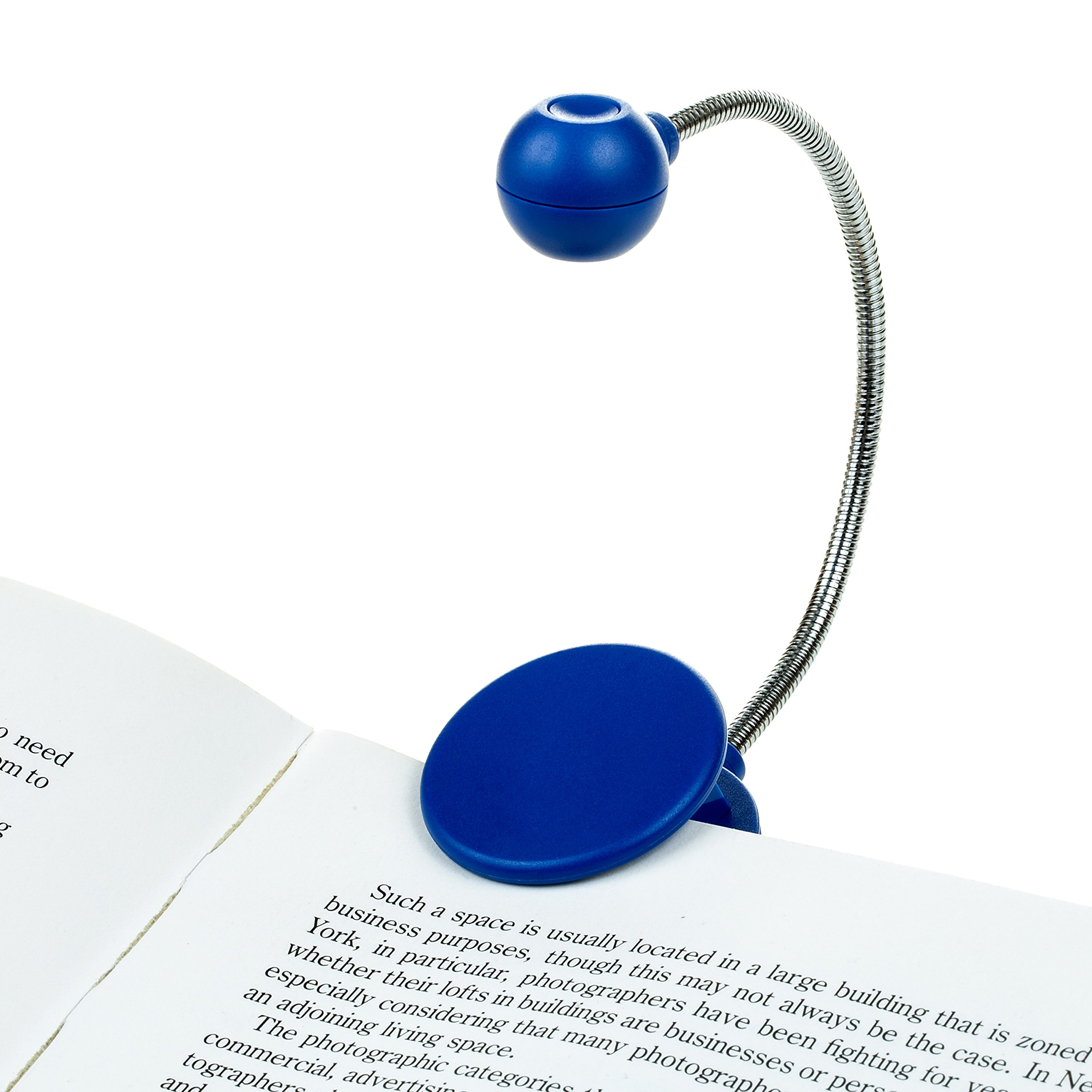 Disc LED Reading Light by WITHit - Blue - LED Book Light with Chrome Neck for Books, E-Reader and E-Book Light