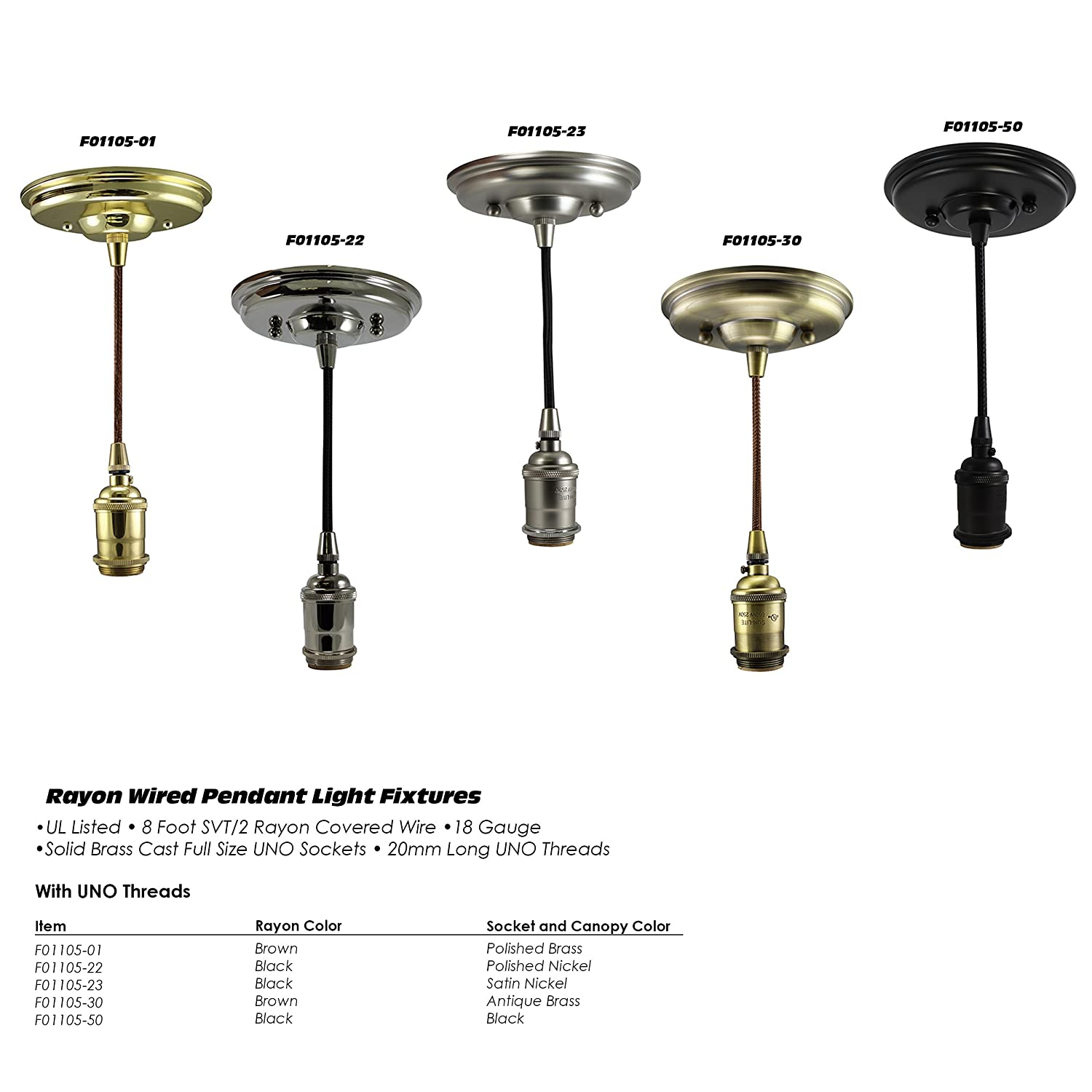 iLightingSupply F01105-01 Polished Brass Pendant Light Fixture with UNO Threads Brown Rayon Wired