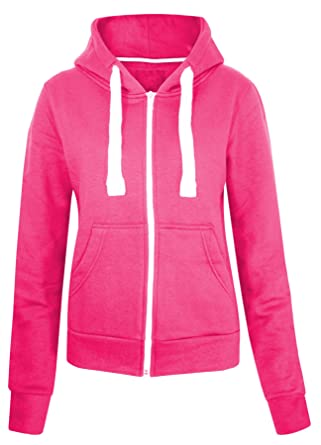 Ladies New Plain Casual Long Sleeve Pocket Hoody Top Womens Fixed Hood Stretch Front Zip Contrast Dr
