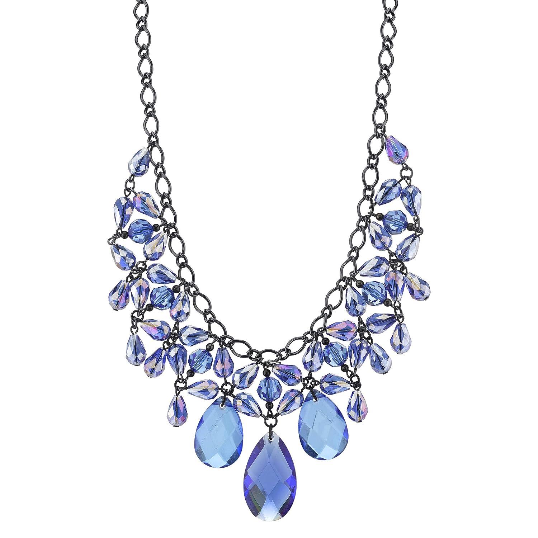 1928 Jewelry Black-Tone Sapphire Blue Color Faceted Statement Bib Necklace 16 Adj.