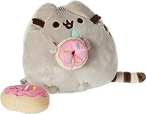 """GUND Pusheen with Donut and Bonus Donut Clip Plush Stuffed Animal Cat, Gray, 6"""""""