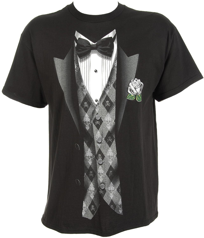 Amazon.com: Hybrid Black Tie & Argyle Vest T-Shirt BLACK Md: Clothing