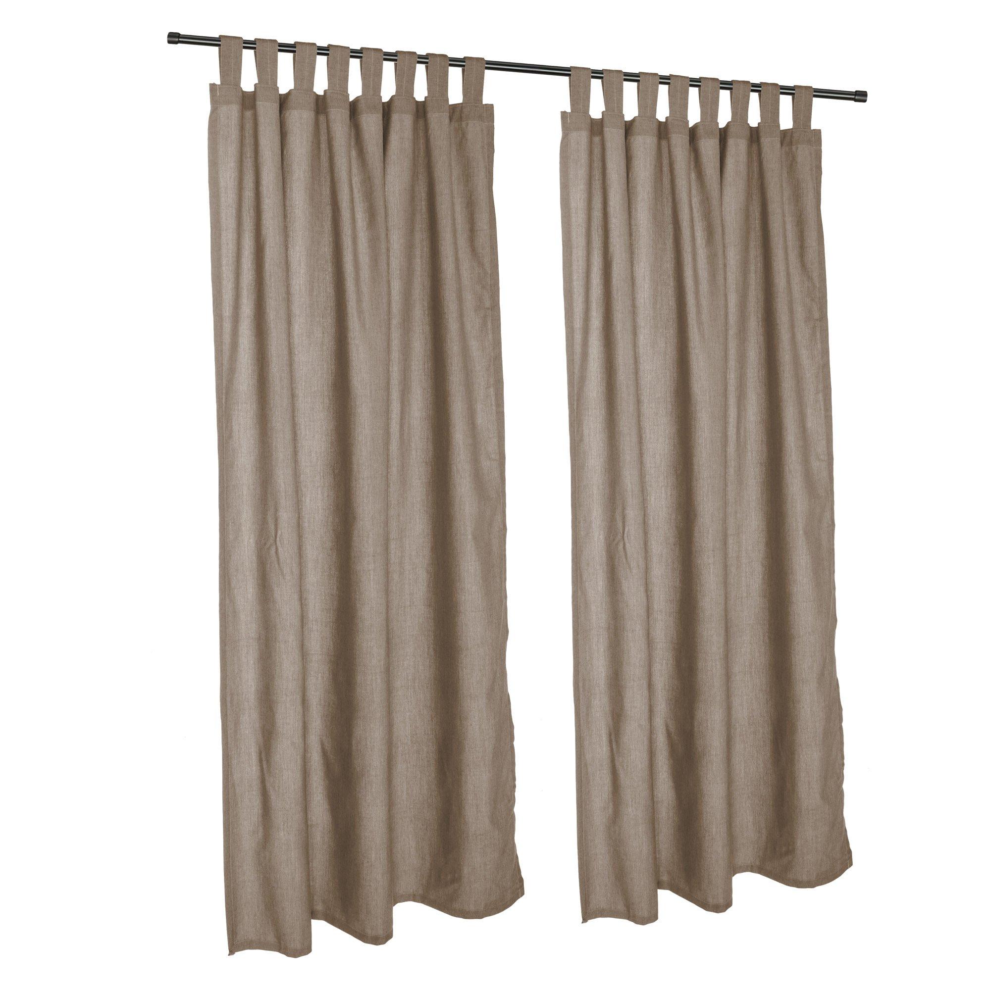 Pawleys Island Sunbrella Outdoor Gazebo Tabbed Solid Curtain Panel Cast Shale 50'' x 120''