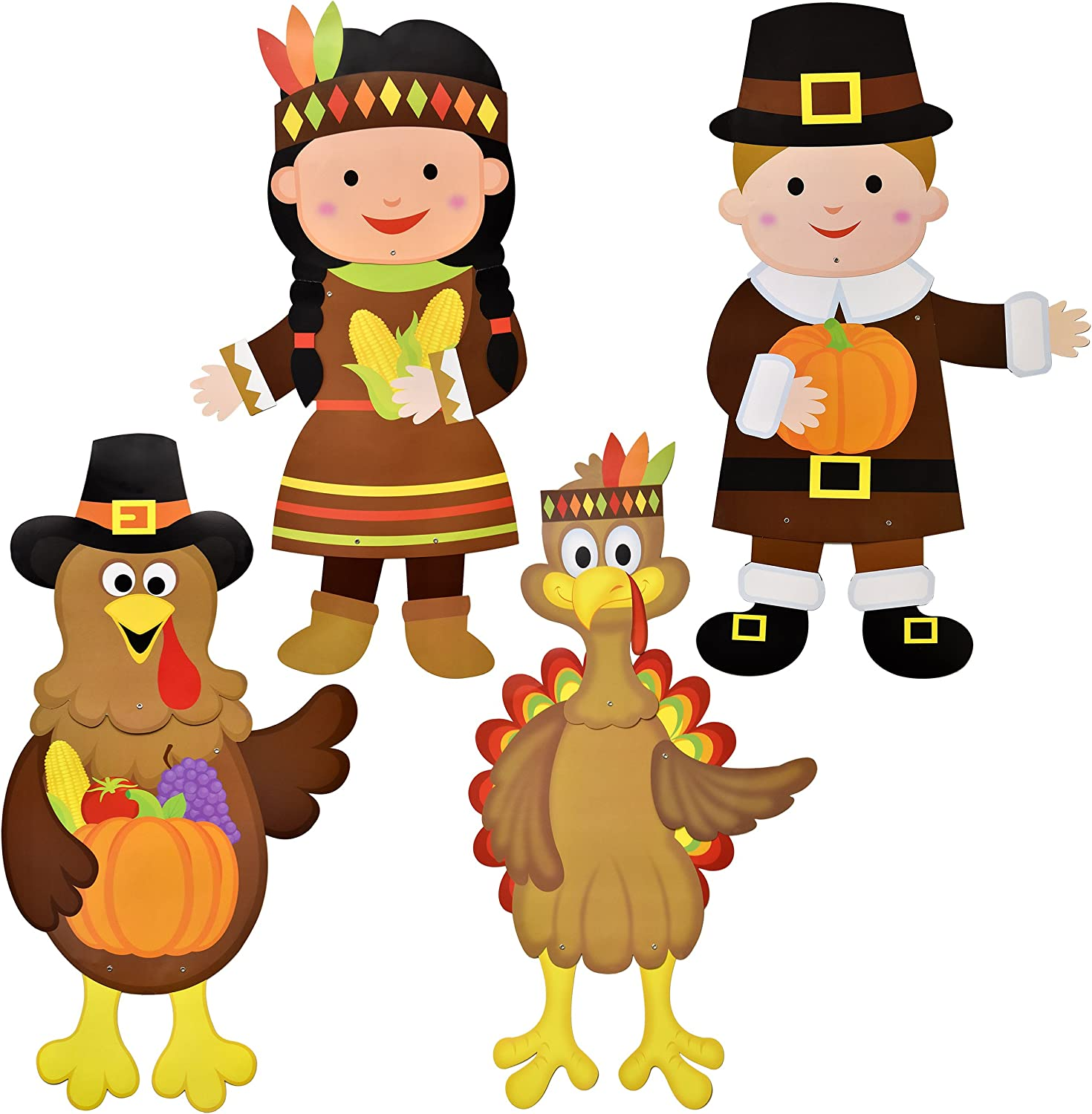 """36"""" Thanksgiving Wall Decoration Jointed Figures, Pack Of 4 Harvest Autumn Fall Banners Boy And Girl Pilgrim And 2 Turkeys By Gift Boutique"""