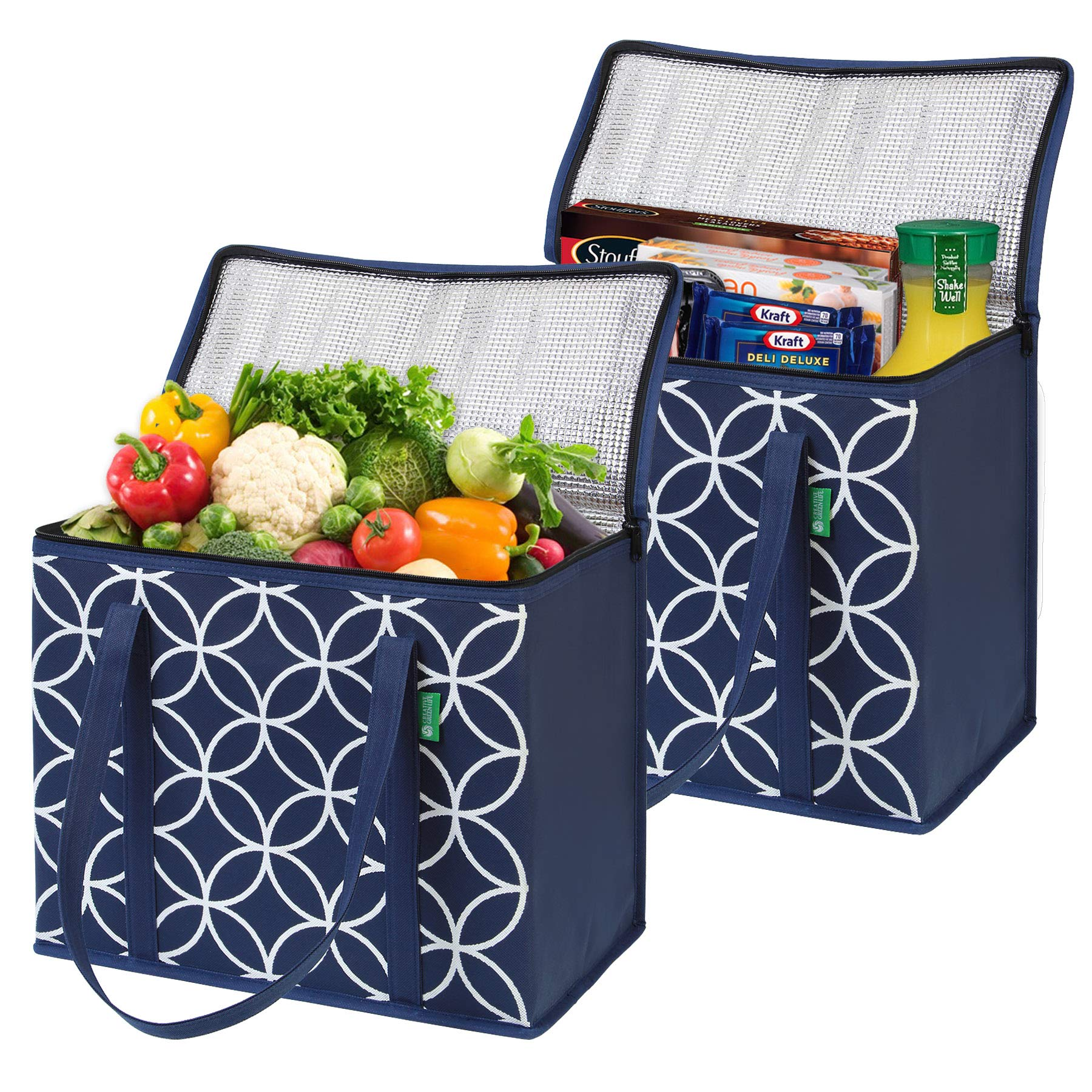 XL Insulated Grocery Bags (2-Pack, Blue). Premium Quality Cooler Bags with Solid Bottom and Sturdy Zipper. Reusable Insulated Bag Totes for Hot or Cold Food Delivery, Groceries, Travel, Shopping by Creative Green Life