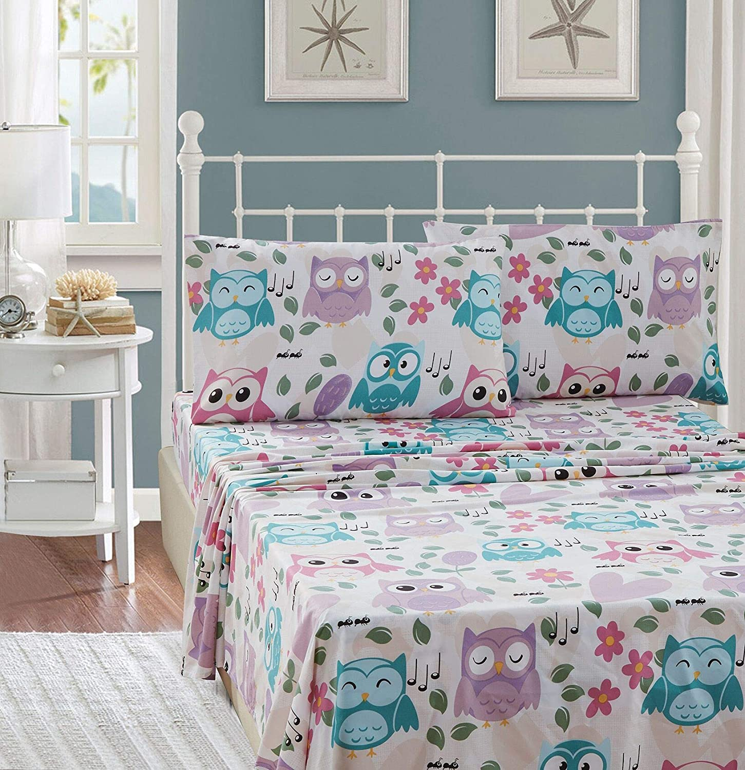 Elegant Homes Multicolor Pink White Blue Purple Cute Beautiful Girls Floral Owl with Hearts Design Fun 3 Piece Printed Sheet Set with Pillowcases Flat Fitted Sheet for Girls/Kids # EH Owl (Twin Size)