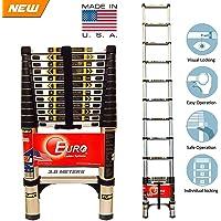 Euro Telescopic Aluminium Ladder 3.8 Mtr (13 Feet) - Stores At 3 Feet - Aircraft Grade Aluminium Advanced -Tele Tech- Portable - Soft Close