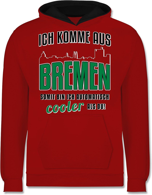 Ich komme aus Bremen St/ädte /& L/änder Kind Kinder Kontrast Hoodie
