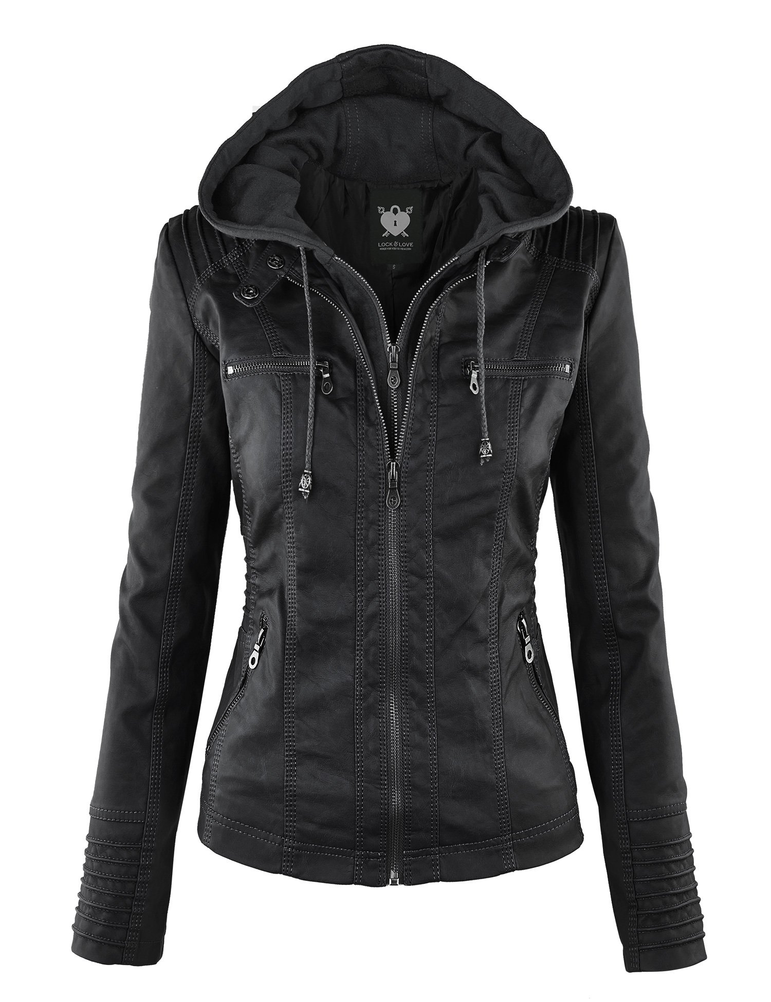 WJC663 Womens Removable Hoodie Motorcyle Jacket M Black by Lock and Love (Image #1)