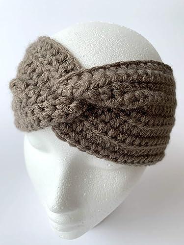 Earwarmer Headband Oatmeal Twisted Earwarmer- Adult size- Twisted Headwrap Double layered twisted headwrap Twisted Headband