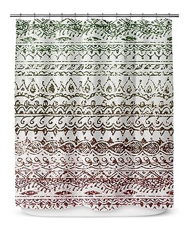 KAVKA Designs Christmas Glitter Shower Curtain Green Red White