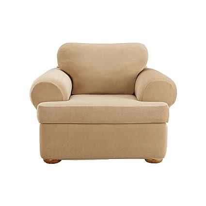 Amazoncom Surefit Stretch Pique T Cushion Chair Cream 3 Piece