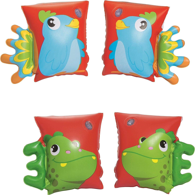 BESTWAY 32115 - Manguitos Hinchables Dinosaurio & Loro 23x15 cm