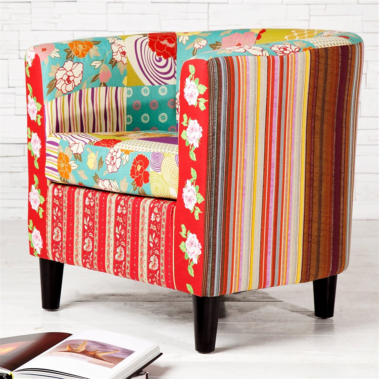 Design Delights Fauteuil lounge Motif patchwork de fleurs colorées