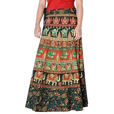 4a91a33eab5 Magic Skirt Halter Tube Dress Ethnic Style Cotton Gypsy Boho Hippie Skirt  Size 2XL Green 38