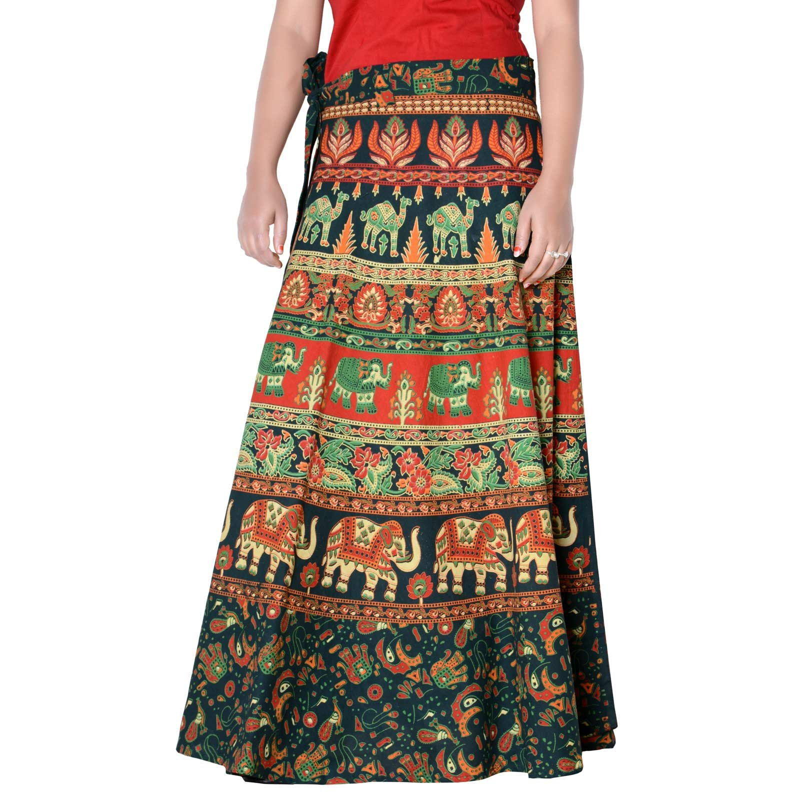 Vintage Style Cotton Printed Rajasthani Badmeri Wrap Around Green Color Free Size Skirt 36 Length Skirt D1 by Sttoffa