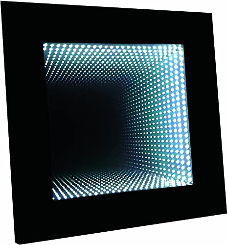 Homelegance Decorative Mood Led Wall Accent Lighting Infinity Mirror with Black Wooden Frame, Table Top