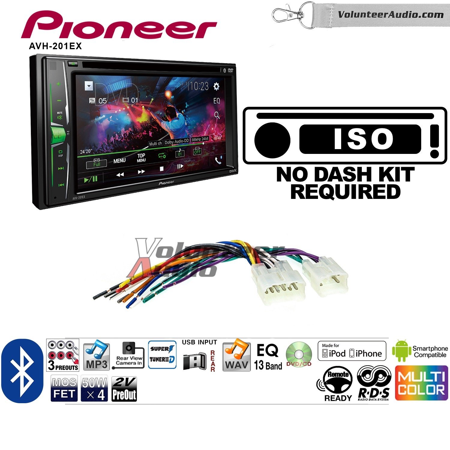 Pioneer AVH-201EX Double Din Radio Install Kit with CD Player Bluetooth USB/AUX Fits Non Amplified 1987-2009 Toyota 4Runner, 1987-2015 Camry, 1995-2015 Tacoma