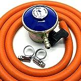 Kit détendeur à gaz butane tuyau et colliers de serrage 28 mbar (avec clip)