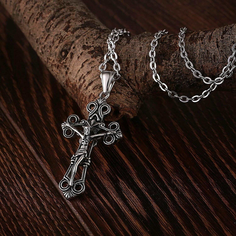 c147791a8c775b Aooaz Gioielli collane Pendenti Acciaio Inossidabile Gesù Croce collane  Vintage Uomo Argento Nero AOOAZJSQYLSJH118KU Gioielli Uomo