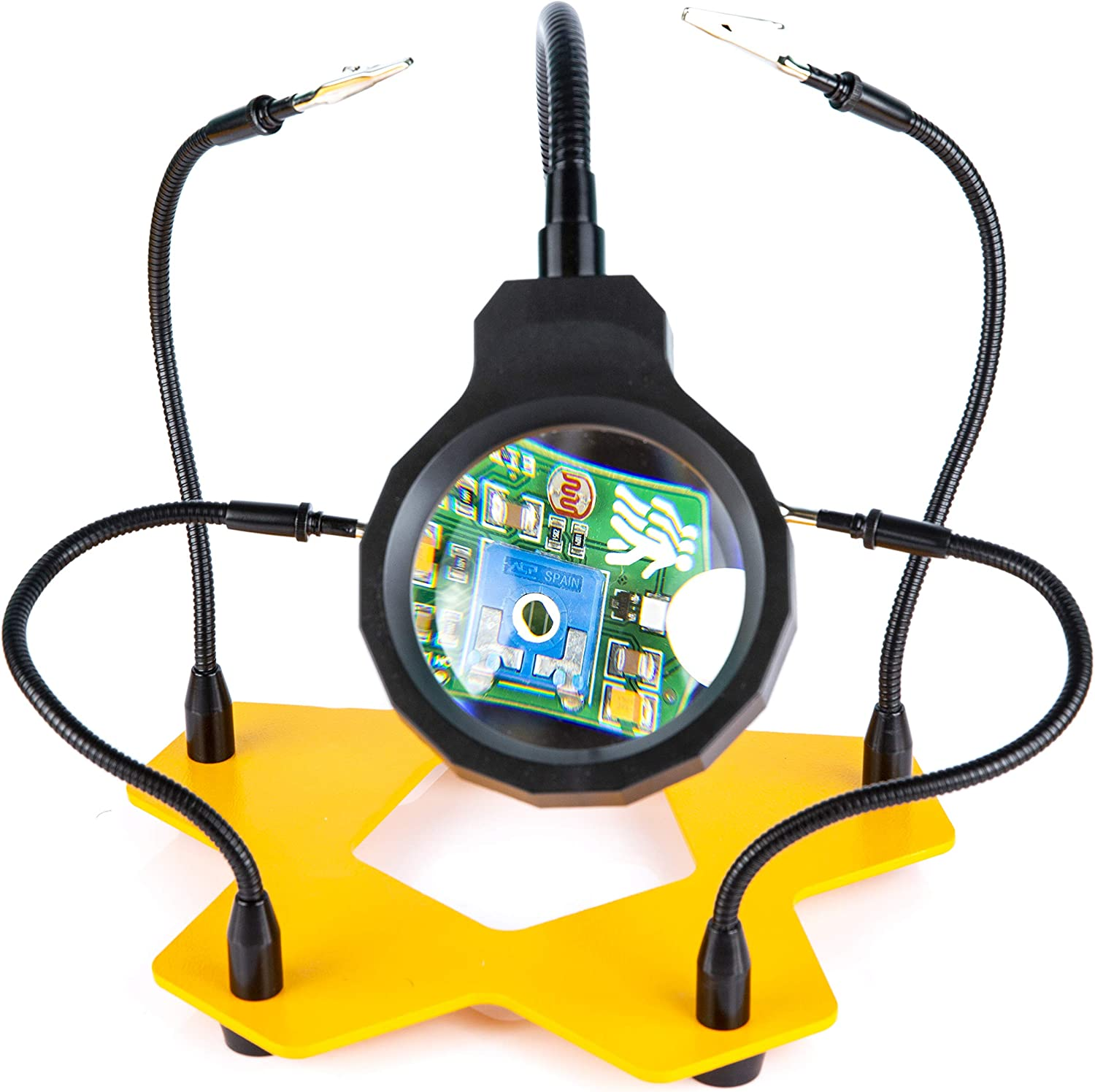 KOTTO LED Lighted Magnifying Third Hand Soldering PCB Holder Tool Five Arms Helping Hands Crafts Jewelry Hobby Workshop Helping Station Non-slip weighted base LED Lamp