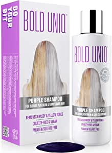 Purple Shampoo For Blonde Hair: Blue Shampoo for Silver and Violet Tones - Banish Yellow Hues: Revitalize Blonde, Bleached & Highlighted Hair - Sulfate Free Hair Toner - 8.45Fl.oz/ 250ml - Bold Uniq